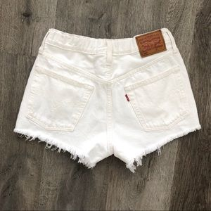 Levi's 501 White High Waisted Jean Shorts
